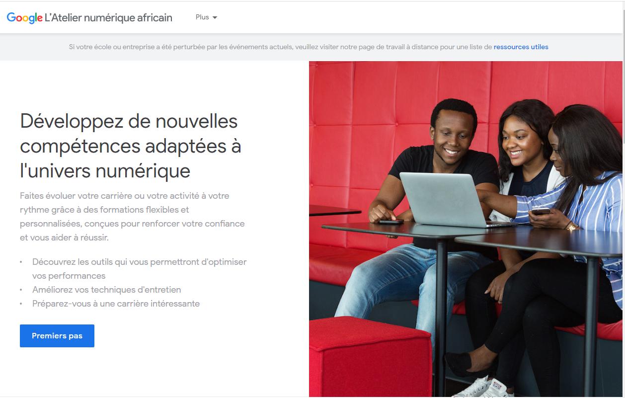 Capture d'écran de la formation gratuite marketing digital : atelier numérique africain