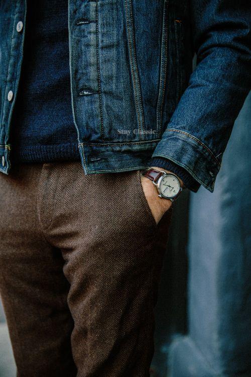 man in wool trouser pants