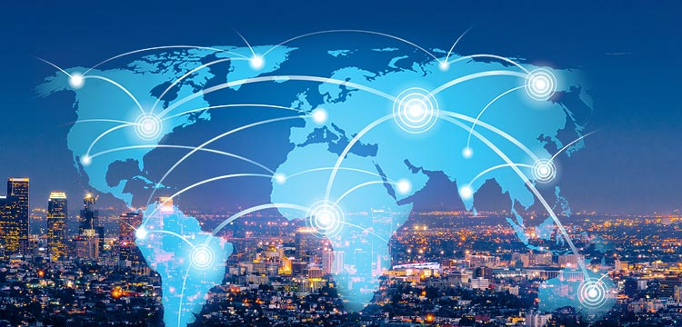When smart city and its application are operated remotely via IoT systems, a view of the world-wide spreading network through the internet. Analytics Steps, analytics steps, analyticssteps