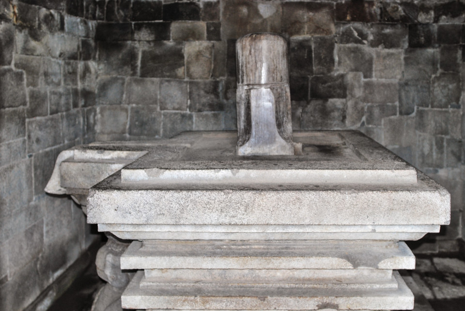 Linga-Yoni is the centerpiece of the main temple in Sambisari.