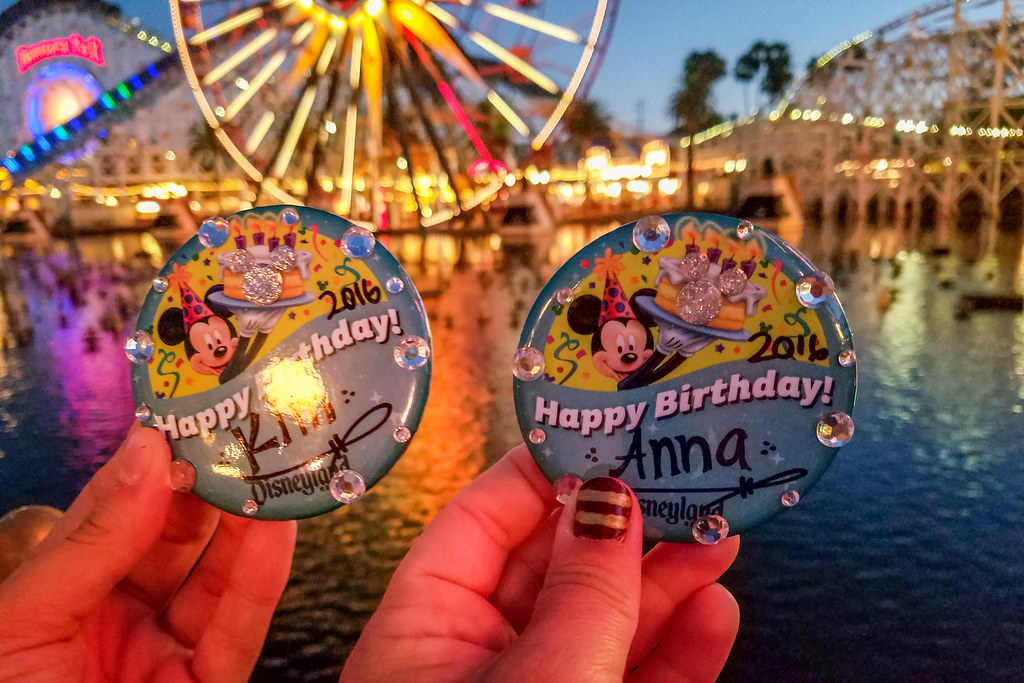 Buttons Disney gives out for free to their guests celebrating their birthday.