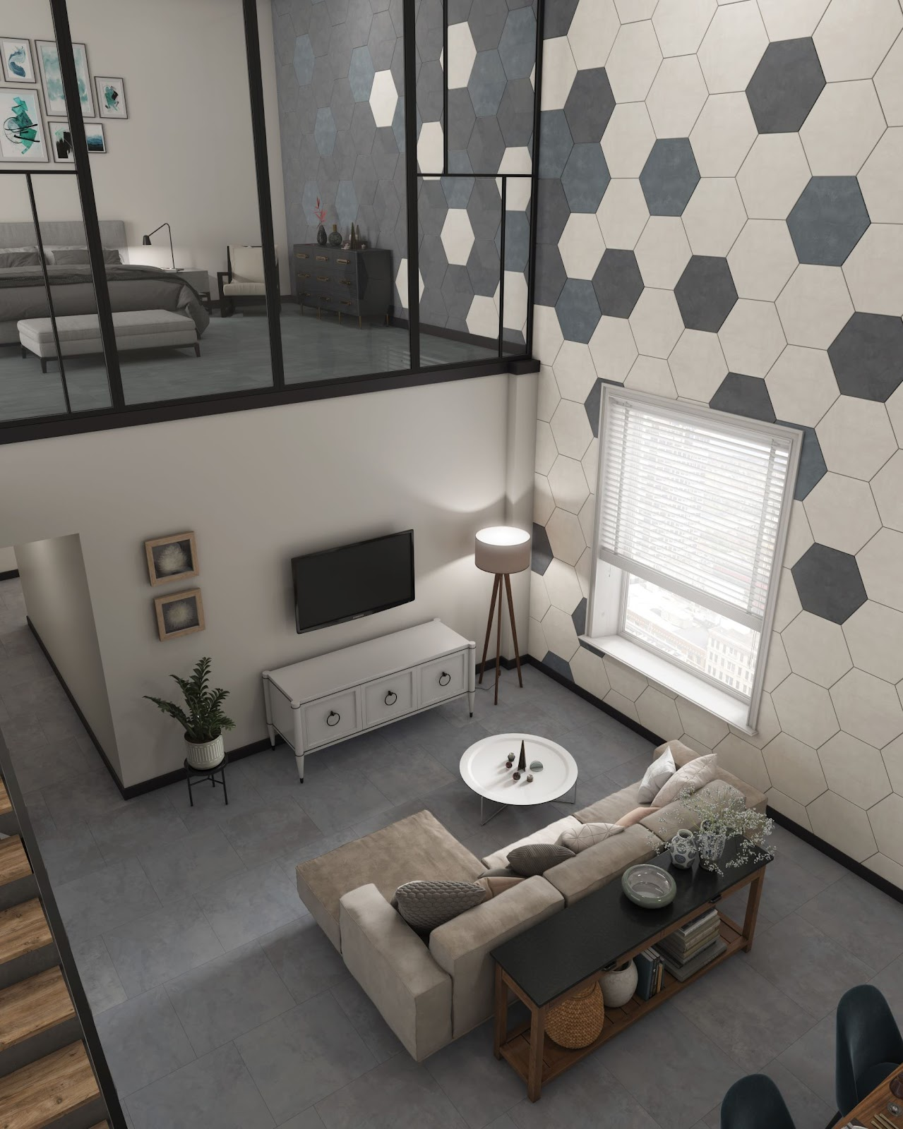 Large hexagon wall tile
