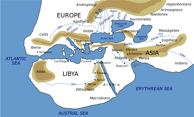 Map of the world as imagined by Herodotus, with Europe, Asia, and Africa all approximately the same size and with Greece in the middle.