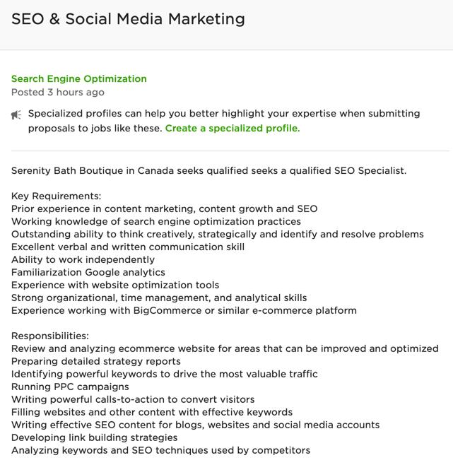 complete job description for hiring a freelancer