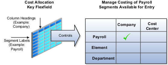 The flexfield structure determines which segments are available for entry on the costing setup page