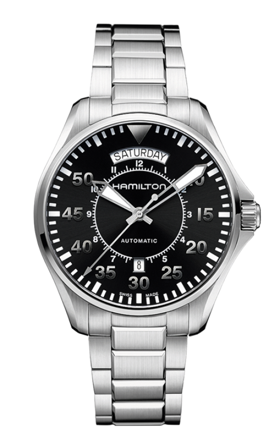 Pilot Day Date Auto-The Pilot Day Date Auto comes in a stainless steel case and a black dial. This Man watch has a stainless steel silver strap and is 100 meters water resistant