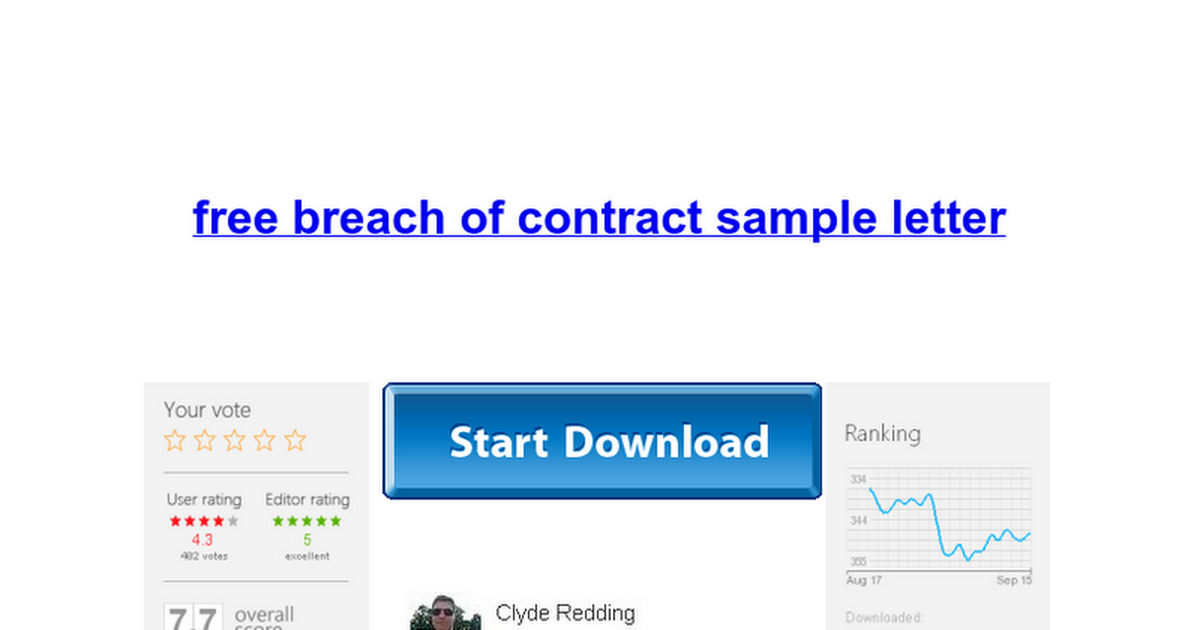 Free Breach Of Contract Sample Letter