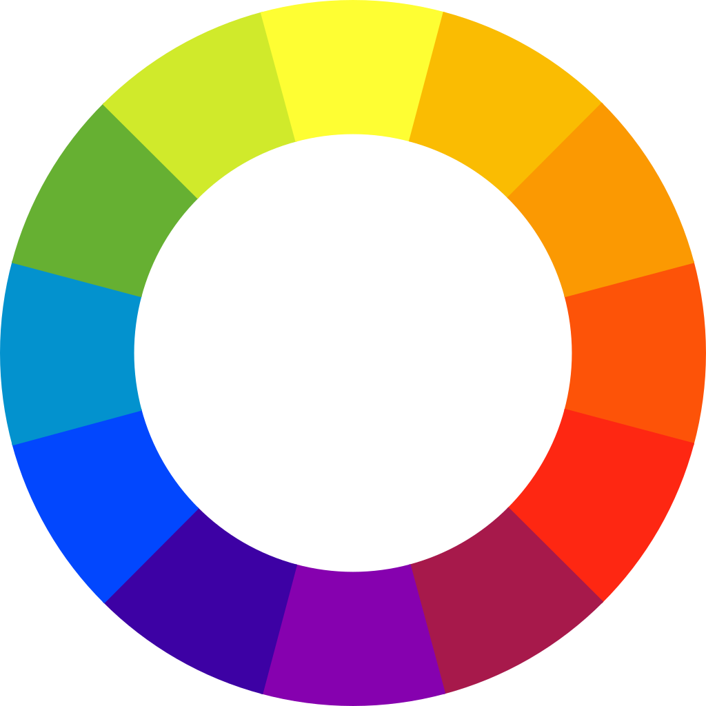 Color wheel. Colors of the rainbow in a circle formation, starting with yellow at the top.