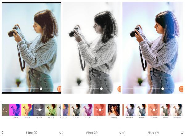Montagem com 3 fotos da mesma mulher tirando uma foto. Nessa montagem mostra uma edição usando as ferramentas do AirBrush.