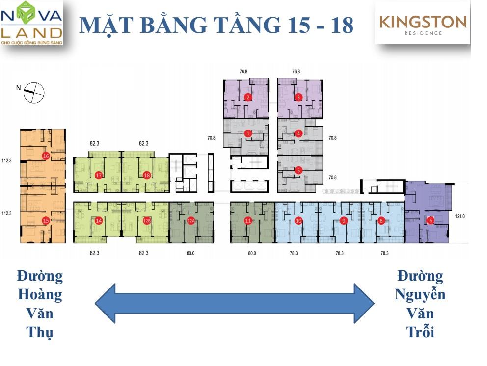 mặt bằng căn hộ kingson tầng 15 - 18