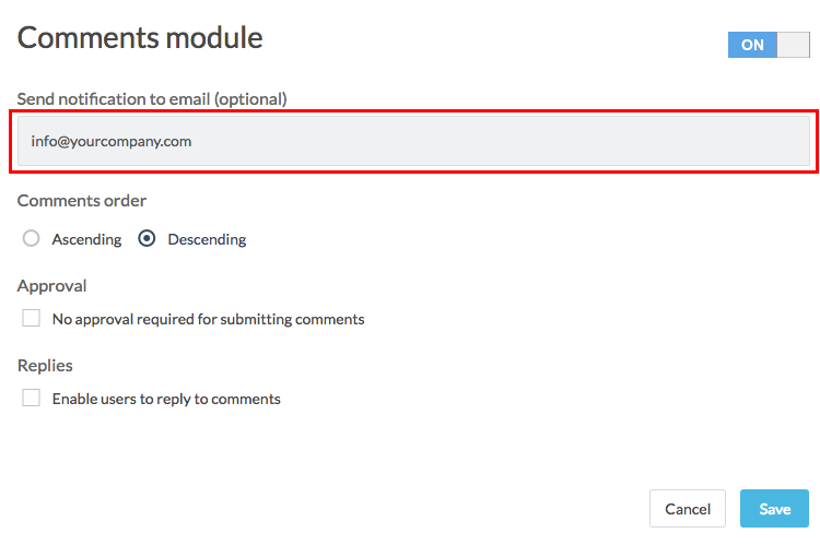 comments module with send notification option highlighted