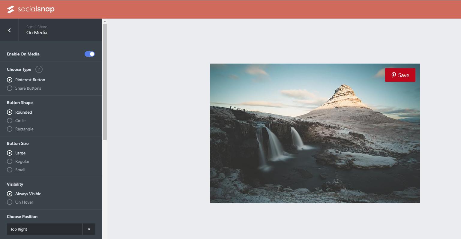 settings for pinterest plugin