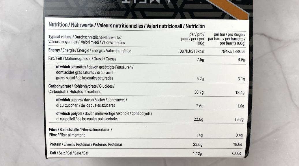 Die Nährwerte vom Amfit Nutrition Proteinriegel