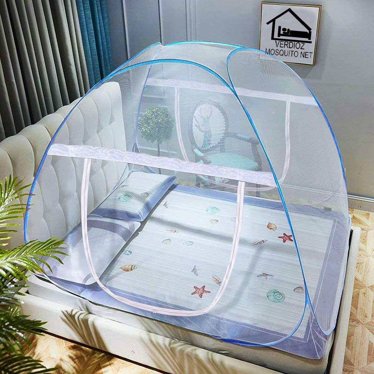 VERDIOZ Foldable Poly Cotton Double Bed Mosquito Net