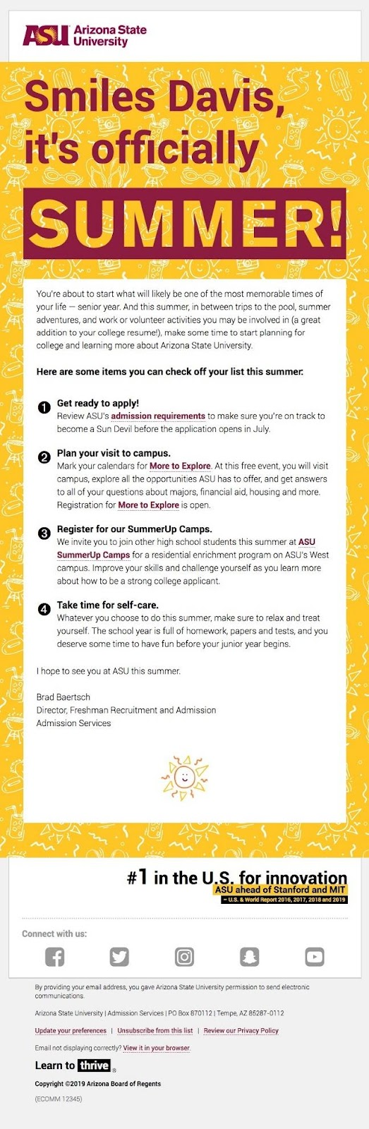 Arizona State University email example