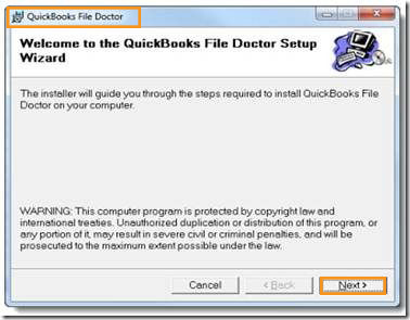 Quickbooks Error 6000 308 QBFD setup window