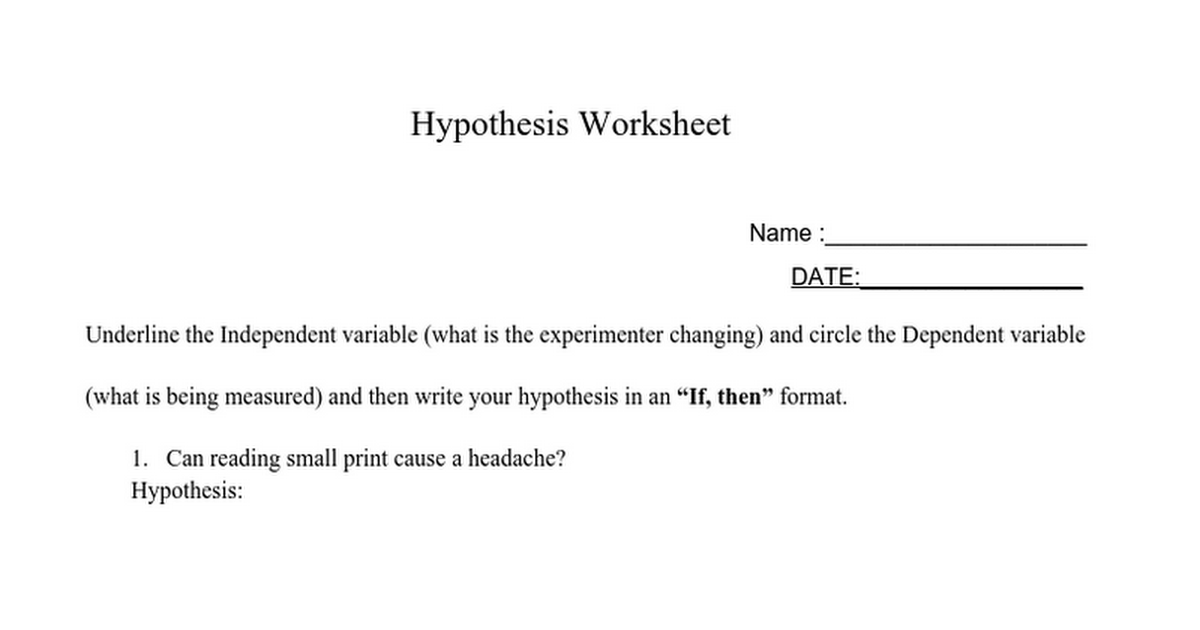 Writinghypotheses Google Docs – Writing a Hypothesis Worksheet