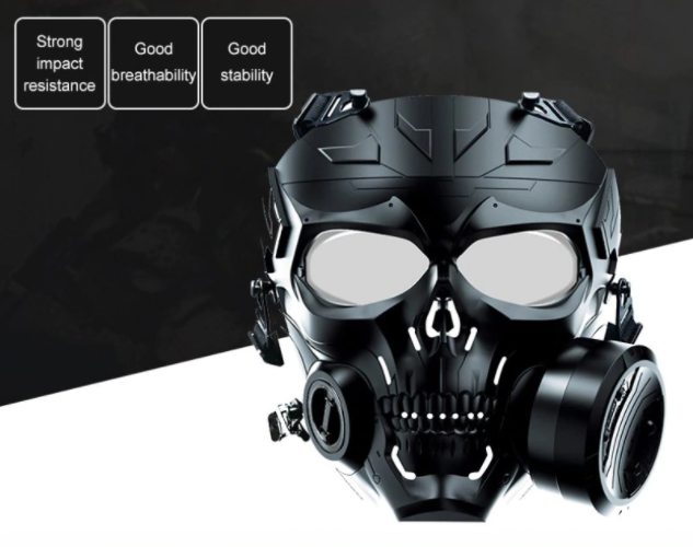 Details about  /Airsoft Paintball Tactical Mask Full Face Dual Exhaust Fan Protective Military
