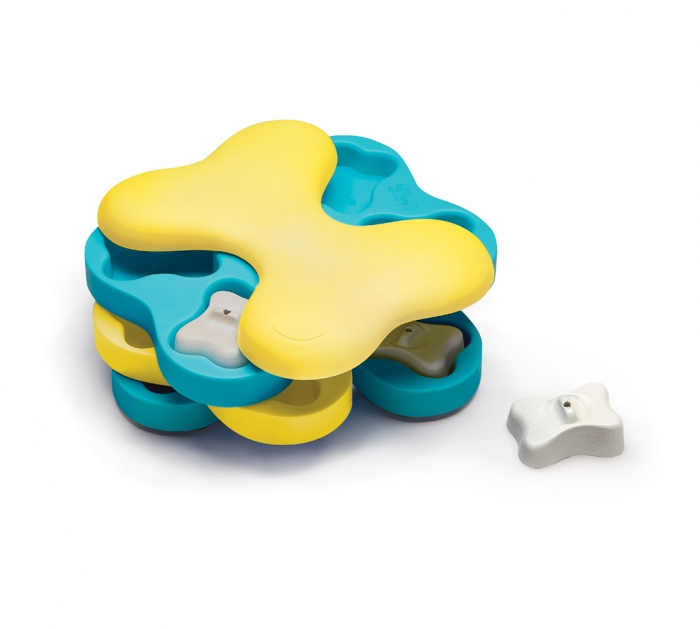 blue and yellow dog brain game puzzle shaped as a bone