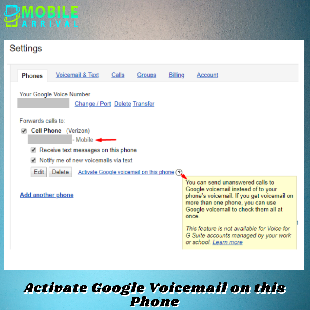Activate Google Voicemail on this Phone