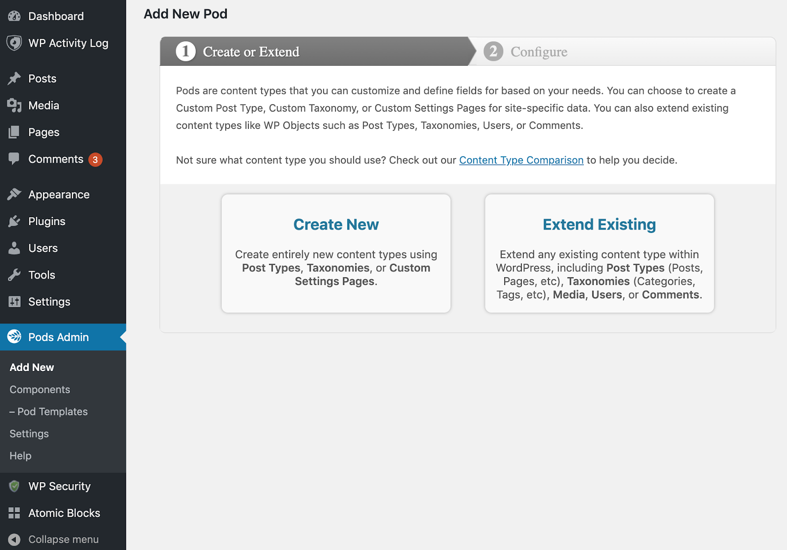 Pods Admin > Add New screen within your WordPress dashboard