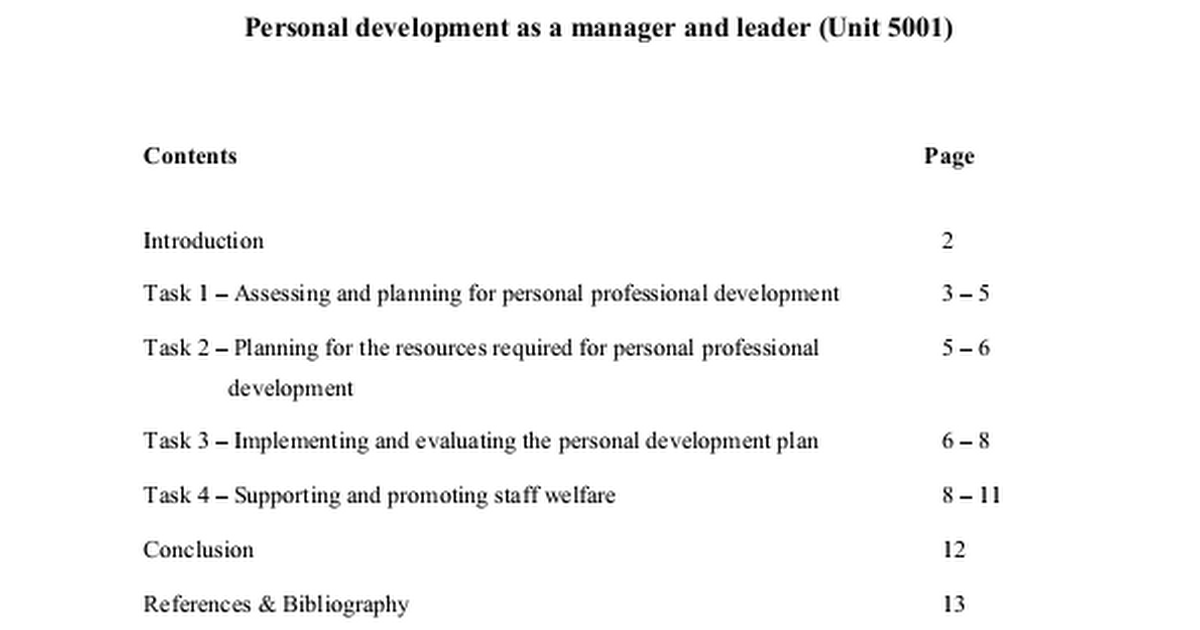 unit 5001 unit 5001 personal development Cmi unit 5001 assessment overview: to address the learning outcomes you are required to make statements as a manager and leader or personal development as a manager and leader based on research, investigation and analysis which you personally have carried out and within your.