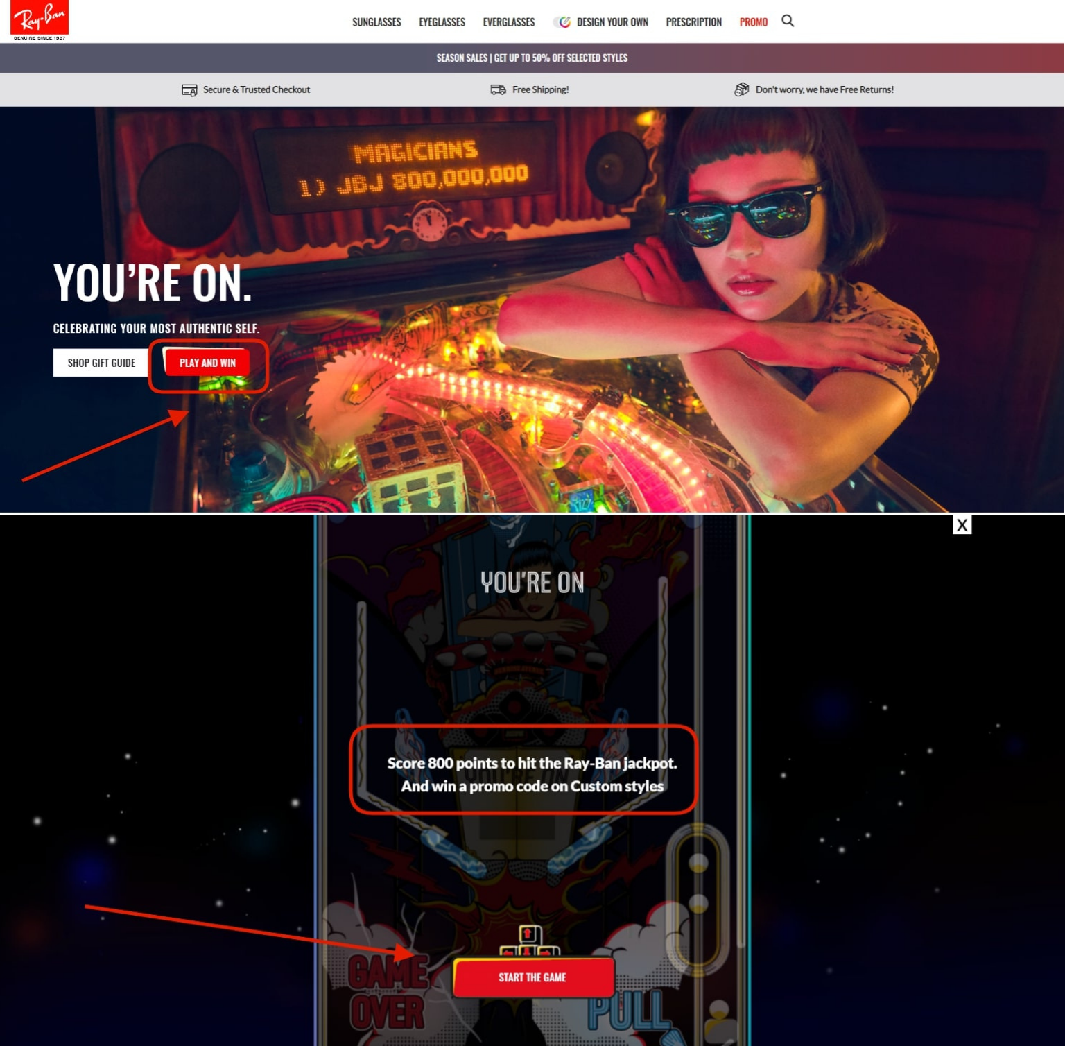 Pinball game on the official Ray-Ban website