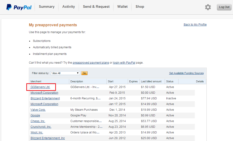 paypal how to find subscriptions