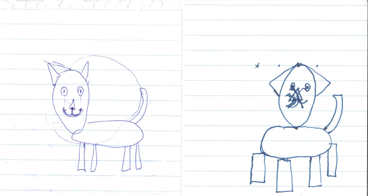 Two very bad doodles of a cat; the one on the left is recognizable and the one on the left is a bit... off. The head is in the center of the body rather than at the end opposite the tail, for example.