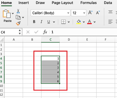 Select the range of cells to be in the drop-down list