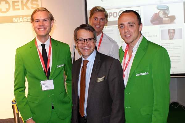 Första apoteksmässan. Från vänster: Jacob Lönroth, Göran Hägglund, Johan Bergenholtz, Filip Larsson