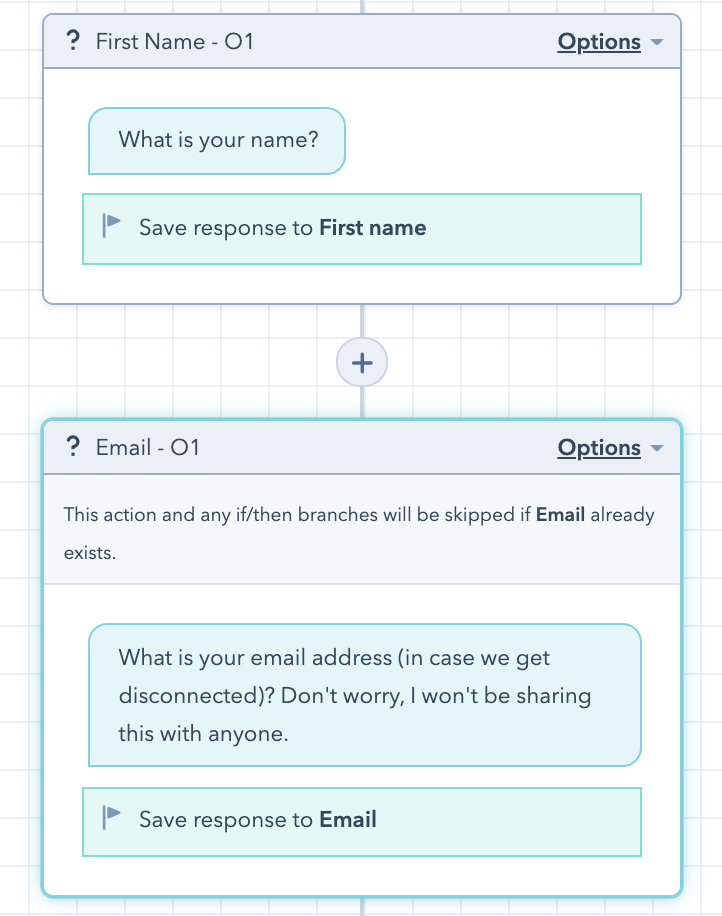Example in Hubspot chatbot builder tool of skipping an action