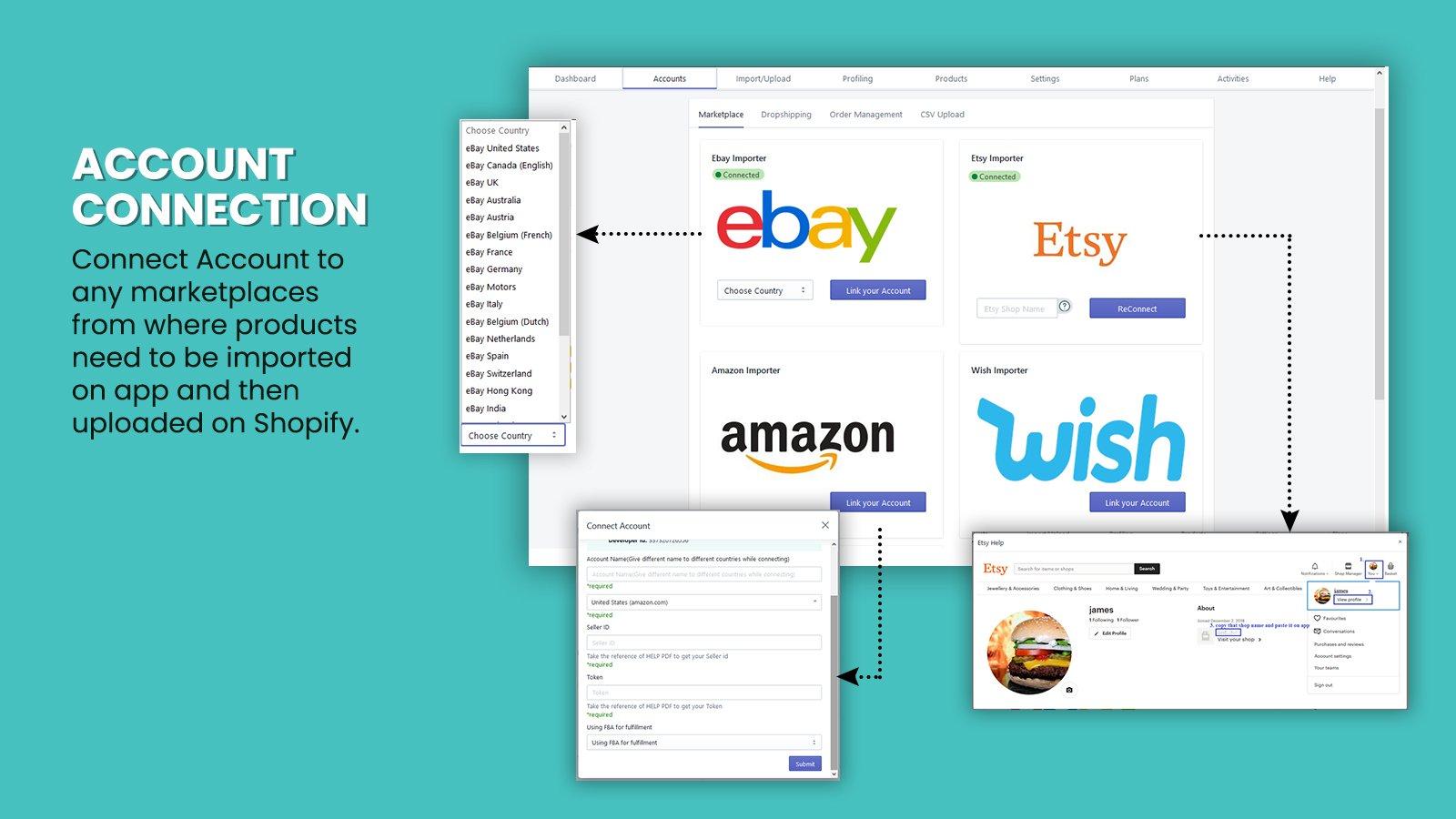 Aliexpress amazon importer eBay Wish Importer Etsy importer