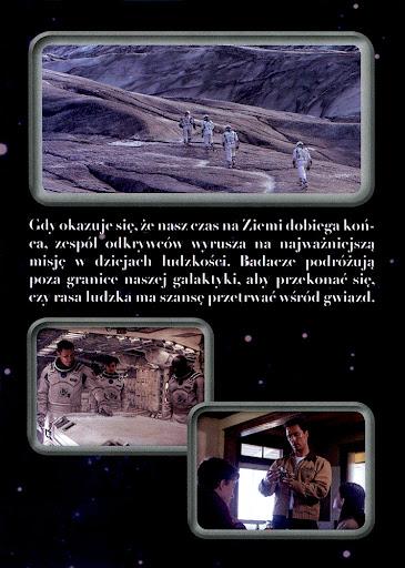 Tył ulotki filmu 'Interstellar'