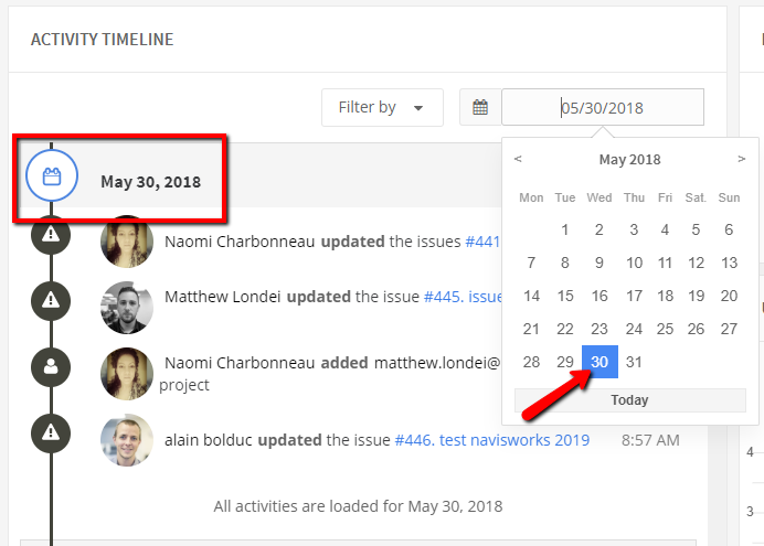 Figure 1.2: Activity Timeline date filter