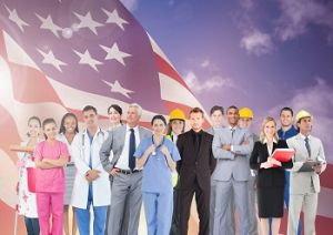 Group of workers from all branches of work, with the U.S. flag in the background