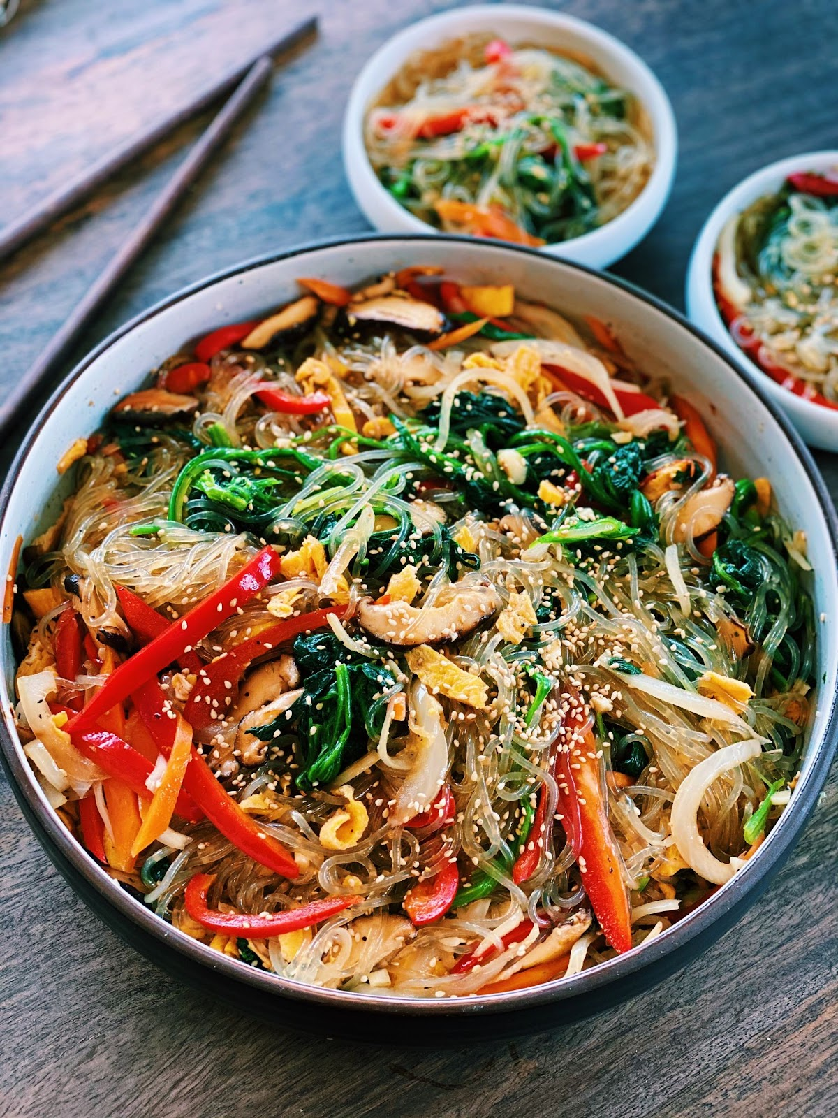 Vegetarian Japchae - Korean Glass Noodle Stir-fry