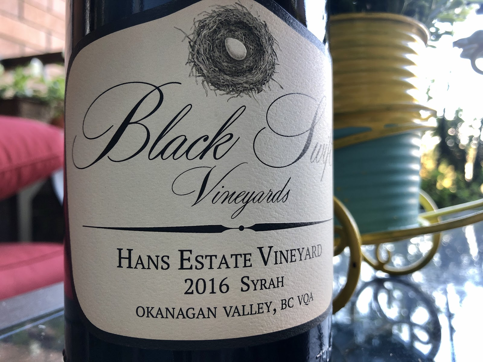 This is the 2016 vitange of the Black Swift Syrah; wine guide