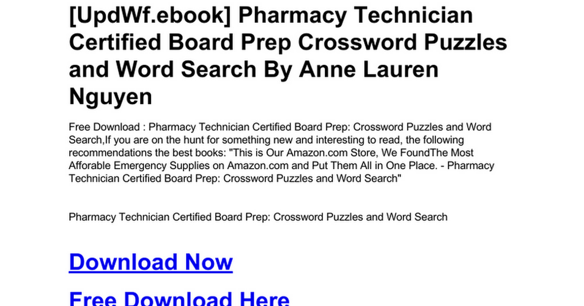 Pharmacy Technician Certified Board Prep Crossword Puzzles And Word