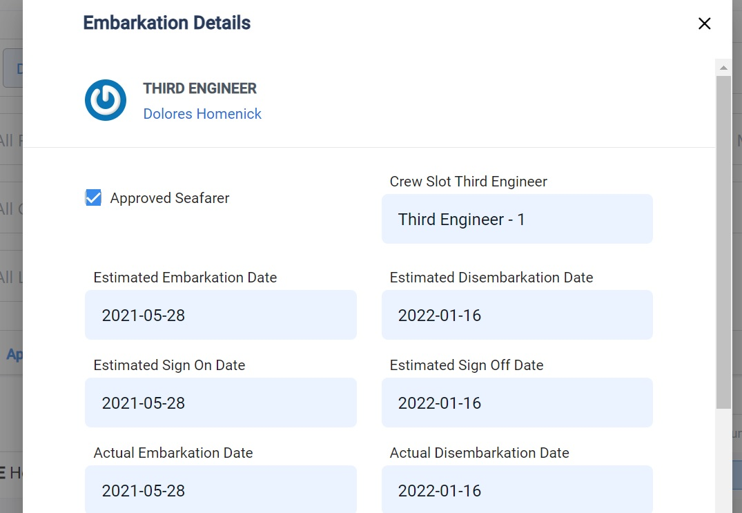 screenshot of the embarkation details for Dolores