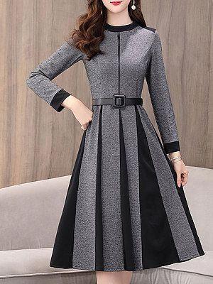 Round Neck Patchwork Printed Skater Dresses | Casual dresses for women, Casual  dresses, Fashion outfits