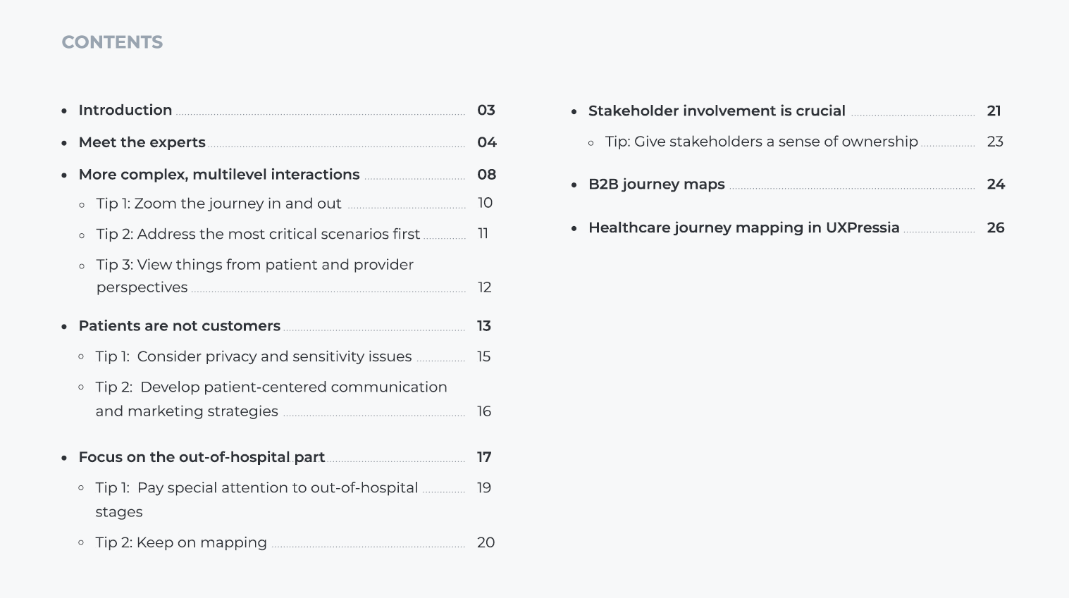 journey mapping in healthcare whitepaper contents