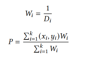 Formulas for calculating the weight and estimated position