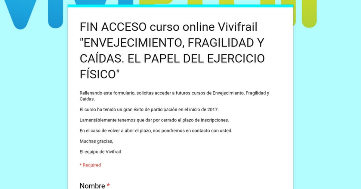 """Thumbnail for Solicitud de acceso al curso online Vivifrail """"ENVEJECIMIENTO, FRAGILIDAD Y CAÍDAS. EL PAPEL DEL EJERCICIO FÍSICO"""""""