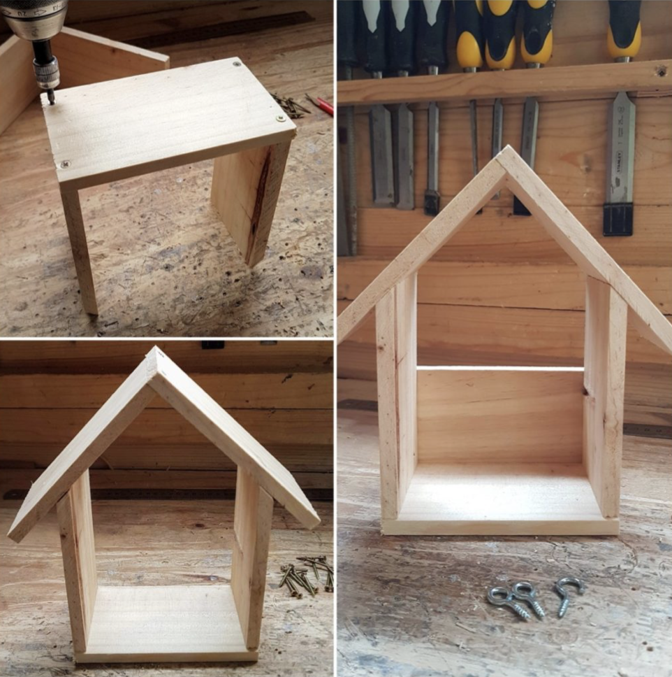Assemble the DIY bird feeder
