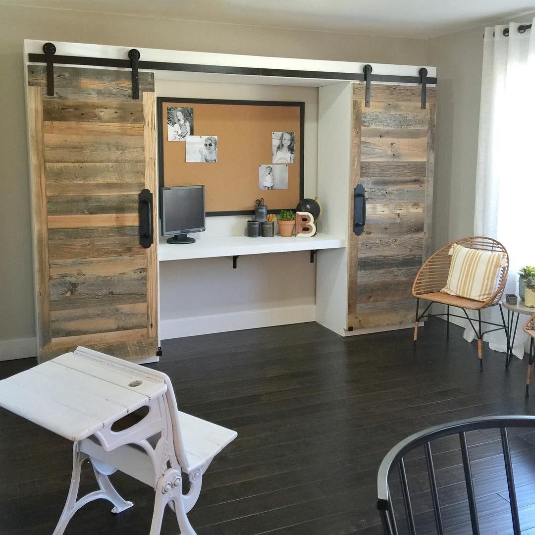 Bedroom Office with Barn Door
