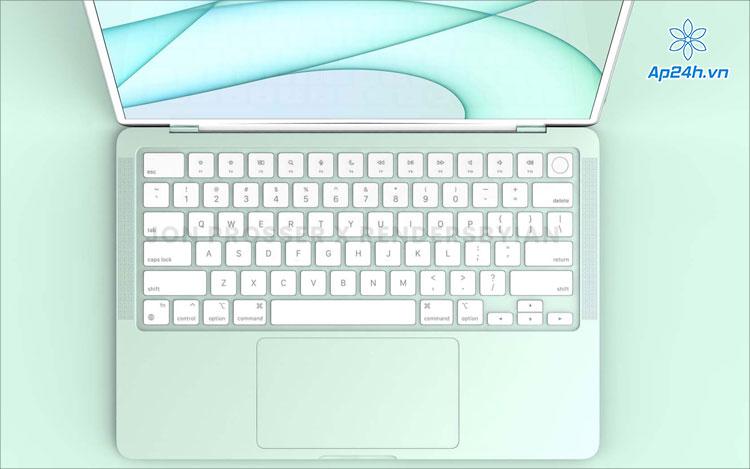 Hình ảnh MacBook Air với bàn phím màu trắng