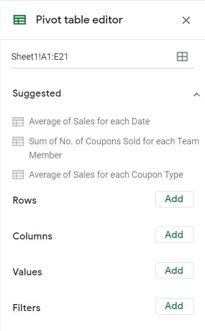 pivot table editor on google sheets