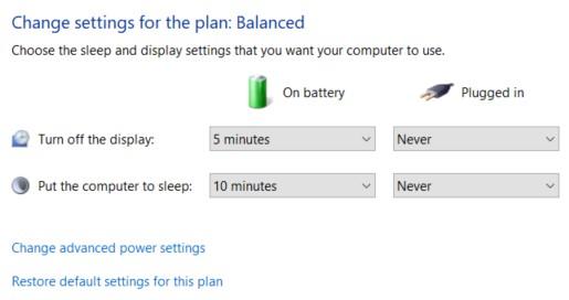 Change plan settings window