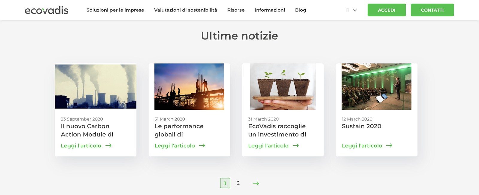 Multilingual Website Example: EcoVadis Latest News section in Italian